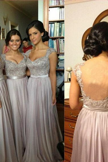 Silver Grey Bridesmaid Dress, Cap Sleeve Bridesmaid Dress, Elegant Bridesmaid Dress, Cheap Formal Dress, Floor Length Bridesmaid Dress, Lace Beaded Bridesmaid Dress, Dresses For Weddings 2016