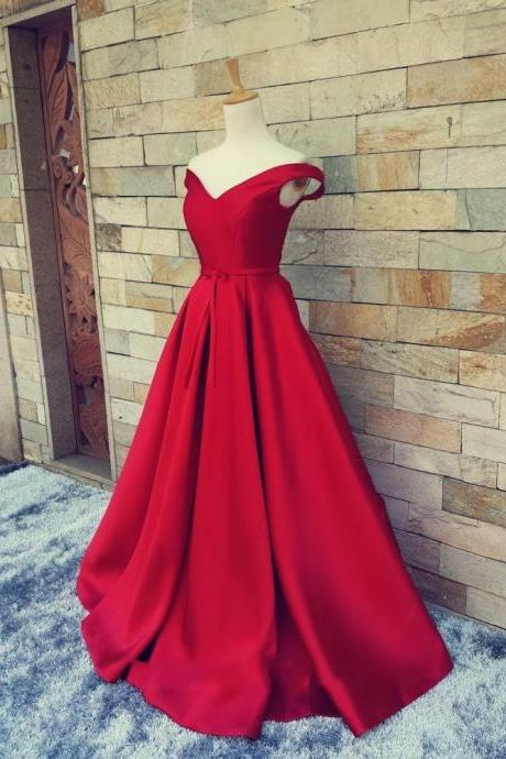 Wine Red Prom Dress, Cap Sleeve Prom Dress, A Line Prom Dress, Long Prom Dress, Satin Prom Dress, Elegant Prom Dress, Cheap Prom Dress, Formal Party Dress, 2016 Prom Dresses