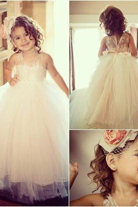 Tulle Flower Girl Dress, Cheap Flower Girl Dress, Custom Flower Girl Dress, Lace Flower Girl Dress, Cute Flower Girl Dress, Ivory Flower Girl Dress, Toddler Girl Dress, Kids Dresses For Wedding