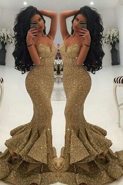 Gold Sequins Evening Dress, Mermaid Evening Dress, Sexy Evening Dress, Long Evening Dress, Spaghetti Straps Evening Dress, Evening Dress 2016, Cheap Formal Dress, Vestido De Festa