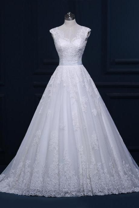 Lace Wedding Dress, 2016 Wedding Dresses, Wedding Ball Gown, Chapel Train Wedding Dress, Cheap Wedding Gown, V Neck Wedding Dress, White Wedding Dress, Elegant Bridal Dresses