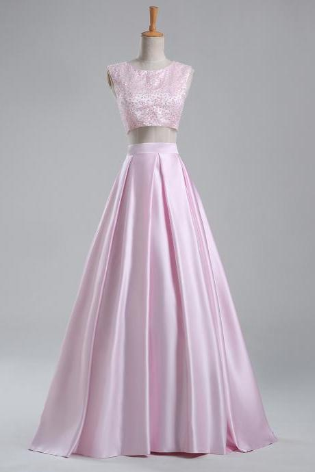 PinK Beaded Prom Dress, 2 Piece Prom Dresses, Satin Prom Dress, Elegant Prom Dress, Cheap Prom Dress, 2016 Prom Dresses, Simple Prom Dress, Vestido De Festa, Long Prom Dress, A Line Prom Dress, Prom Gowns
