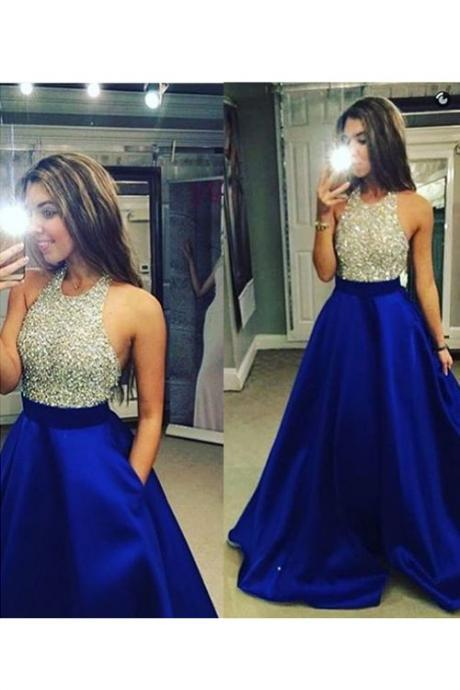 Halter Prom Dress, Beaded Prom Dress, A Line Prom Dress, 2016 Prom Dresses, Elegant Prom Dress, Cheap Formal Dress, Long Prom Dress, Satin Prom Dress, Royal Blue Prom Gown