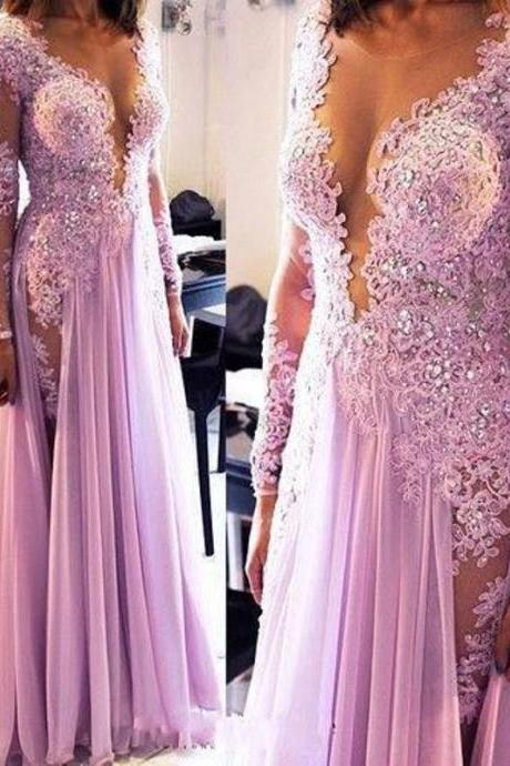 Lavender Prom Dress, Long Sleeve Prom Dress, Lace Prom Dress, Cheap Formal Dress, Purple Prom Dress, Elegant Prom Dress, Deep V Neck Prom Dress, 2016 Prom Dresses, Saudi Arabic Prom Gowns