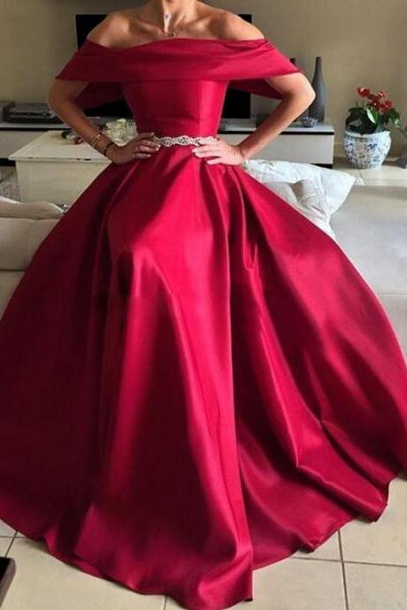 Deep Red Prom Dresses, Off the Shoulder Evening Gowns, Satin Formal Dresses, A Line Evening Dresses, Wine Red Party Dresses, Arabic Special Occasion Dresses, Prom Dresses Long, Burgundy Formal Dresses, Elegant Fashion Women Dresses
