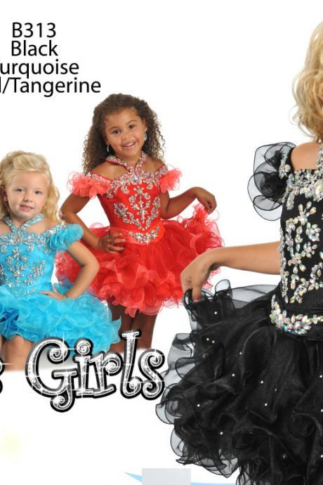 2016 Little Girls Cupcake Dresses, Cute Girls Party Dresses, New Arrival Little Girls Pageant Dresses, Sparkle Little Girls' Pageant Dress, Adorable Little Girls' Cupcake Dresses, Organza Little Girls' Party Dresses, Ball Gown Little Girls Pageant Dress, Toddle Girls Patty Dress