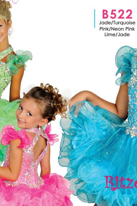 Crystal Little Girls Pageant Dresses, Crew Girls Pageant Dresses, Ball Gown Little Girls Cupcake Dresses, Bling Bling Girls Pageant Dresses, 2016 Little Girls Party Dresses, Cute Girls Pageant Dresses, New Arrival Girls Party Dresses