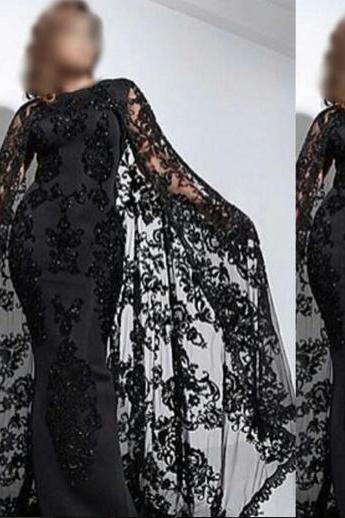 Black Evening Dress, Saudi Arabic Evening Gowns, Dubai Kaftan, Lace Evening Dress, Sparkly Evening Dress, Long Evening Dress, Cheap Formal Dress, Elegant Evening Dress With Scarf, Middle East Style Evening Dress, 2016 Evening Dress