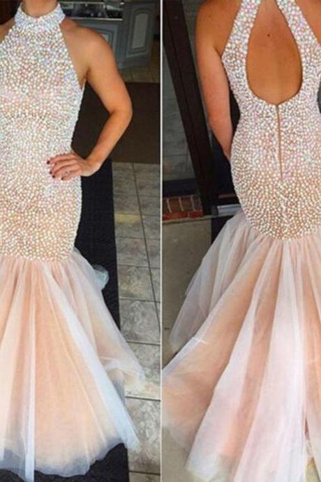 High Neck Evening Dress, Peals Evening Dress, Mermaid Evening Dress, Champagne Evening Dress, Tulle Evening Dress, Long Evening Dress, 2016 Evening Dress, Backless Formal Dress, Affordable Formal Dresses