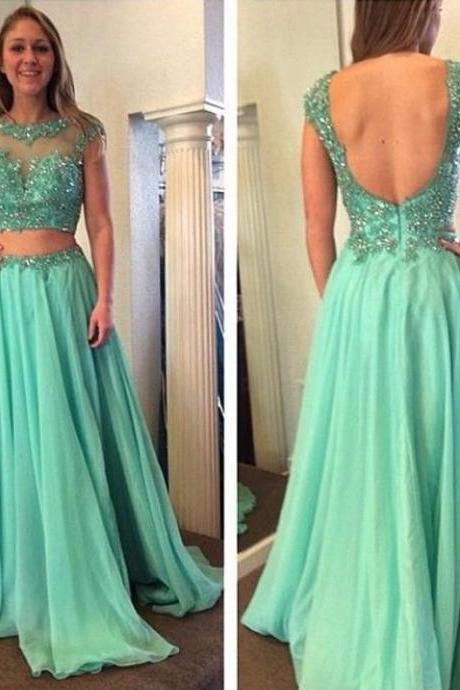 Two Piece Prom Dresses, Mint Green Prom Dress, Elegant Prom Dress, Beading Prom Dress, Charming Prom Dress, Lace Prom Dress, Cap Sleeve Prom Dress, Sexy Formal Dress, Chiffon Prom Dress