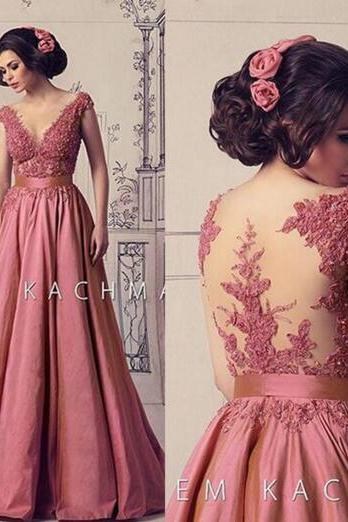 Elegant Prom Dress, Cap Sleeve Prom Dress, Pink Prom Dress, Lace Prom Dress, Prom Dresses 2016, A Line Prom Dress, Cheap Prom Dress, Prom Gowns 2016, Sheer Back Prom Dress, Satin Prom Gown