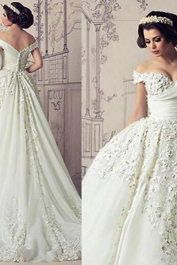 3D Flowers Wedding Dress, Cap Sleeve Wedding Dress, Ivory Wedding Dress, Cheap Wedding Dress, Puffy Wedding Dress, 2016 Wedding Dress, Saudi Arabic Wedding Dress, Bridal Gowns