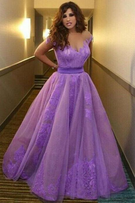 Purple Prom Dresses, Elegant Prom Dresses, Long Prom Dresses, Lace Prom Dresses, Cap Sleeve Prom Dresses, V Neck Prom Dress, Sexy Prom Dresses, 2016 Prom Dresses For Women