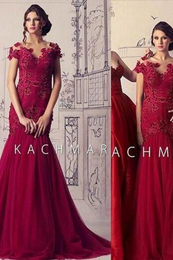 Wine Red Prom Dress, A Line Prom Dress, Long Prom Dress, Lace Applique Prom Dress, Mermaid Prom Dress, Long Prom Dress, Tulle Prom Dress, Cheap Formal Dress, Elegant Prom Gowns