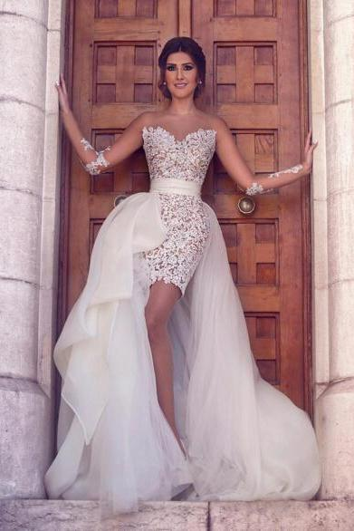 Detachable Wedding Dress, Short Wedding Dress, Sexy Wedding Dress, Lace Wedding Dress, 2016 Wedding Dresses, Sheath Wedding Dress, Romantic Bridal Dress, Ivory Bridal Dresses