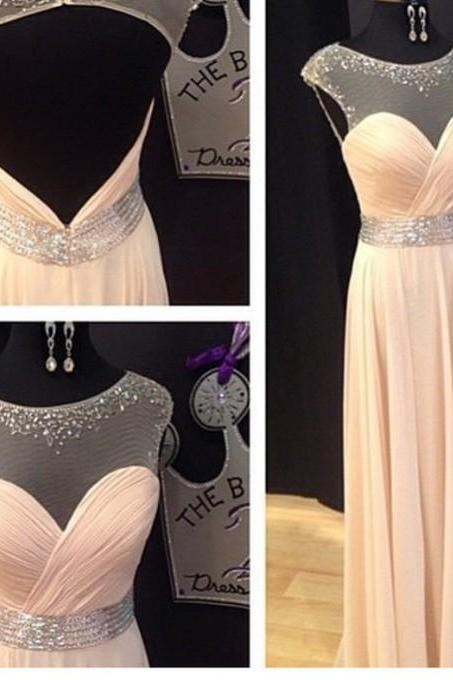 Real Photo Prom Dresses, Peal Pink Prom Dresses, Chiffon Prom Dresses, Beaded Prom Gowns, Elegant Prom Dress, Sheer Crew Prom Gown, Custom Made Prom Dresses