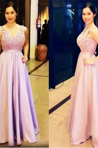 Deep V Neck Prom Dress, Purple Prom Dress, Rhinestones And Peals Prom Dress, Long Prom Dresses, Luxury Prom Dress, Elegant Prom Dress, Satin Prom Dress, Cheap Formal Dresses
