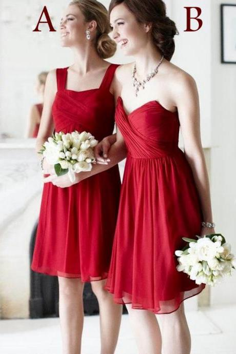 Burgundy Bridesmaid Dresses, Short Bridesmaid Dresses, Mismatched Bridesmaid Dresses, Chiffon Bridesmaid Dresses, Cheap Bridesmaid Dresses, Junior Bridesmaid Dresses, Wedding Party Dresses, Custom Bridesmaid Dress, Wine Red Bridesmaid Dress