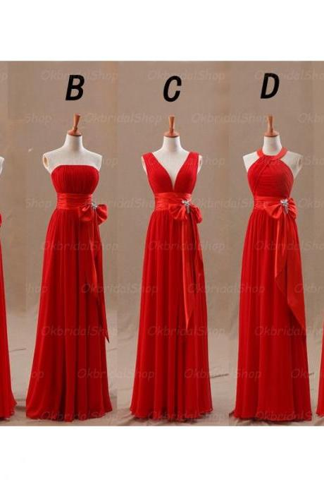 Red Bridesmaid Dresses, Long Bridesmaid Dresses, Mismatched Bridesmaid Dresses, Elegant Bridesmaid Dresses, 2016 Bridesmaid Dresses, Chiffon Bridesmaid Dresses, Cheap Bridesmaid Dresses, Bridesmadi Robes