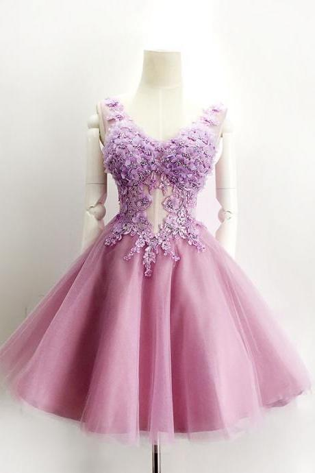 Purple Homecoming Dress, Lace Homecoming Dress, Applique Homecoming Dress, Short Homecoming Dress, A Line Homecoming Dress, Tulle Homecoming Dress, Sexy Homecoming Dress, See Through Homecoming Dress, Prom Dresses 2016