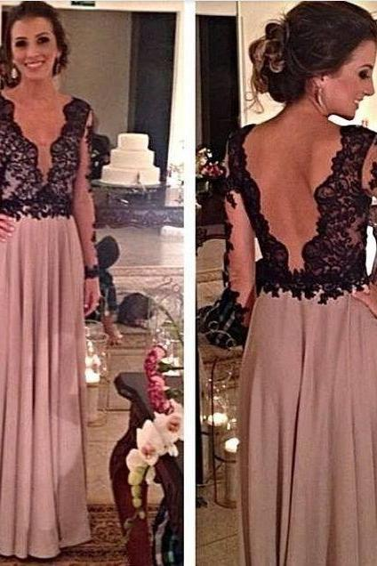 Dusty Pink Prom Dress, Black Lace Prom Dress, Long Sleeve Prom Dress, Elegant Prom Dress, Cheap Prom Dress, Long Prom Dress, 2016 Prom Dresses, Backless Prom Dress, Vestido De Festa