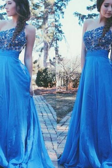 Lace Prom Dress, Blue Prom Dress, Beading Prom Dress, One Shoulder Prom Dress, Long Prom Dress, Elegant Prom Dress, Prom Dresses 2016, Cheap Prom Dress, Formal Party Dresses, Custom Prom Dress