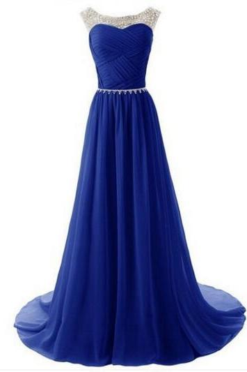 Royal Blue Bridesmaid Dress, Long Bridesmaid Dress, Sparkly Bridesmaid Dress, Elegant Bridesmaid Dress, Chiffon Bridesmaid Dress, Wedding Guest Dresses 2016, Cheap Bridesmaid Dress