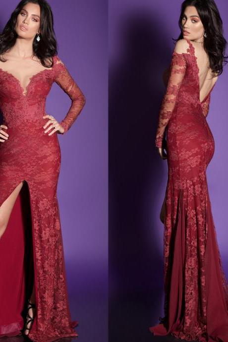 Burgundy Evening Dress, Lace Evening Dress, Long Sleeve Evening Dress, Mermaid Evening Dress, 2016 Evening Dress, Formal Dresses 2016, Sexy Formal Dress, Long Formal Dress