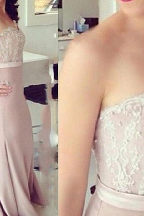 Dusty Pink Evening Dress, Mermaid Evening Dress, Chiffon Evening Dress, Peals Evening Dress, Cheap Formal Dress, Long Formal Dress