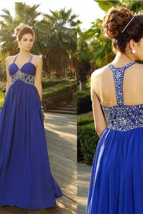 Backless Prom Dress, Chiffon Prom Dress, Royal Blue Prom Dress, Sexy Prom Dress, Long Prom Dress, Rhinestones Prom Dress, A Line Prom Dress, Prom Dresses 2016, Cheap Formal Dresses