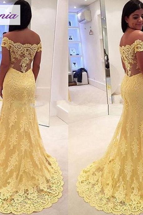 Yellow Evening Dress, Lace Applique Evening Dress, Mermaid Evening Dress, Long Evening Dress, Cap Sleeve Evening Dress, Cheap Evening Dress, Elegant Formal Dress, 2016 Formal Dresses