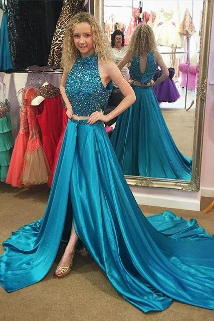 Sexy Prom Dress, Teal Green Prom Dress, Long Prom Dress, Satin Prom Dress, Beaded Prom Dress, Two Piece Prom Dresses, Rhinestones Evening Dress, Halter Prom Dress, 2016 Prom Gowns Side Slit