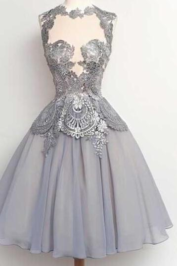 Cap Sleeve Homecoming Dress, Short Homecoming Dress, A Line Homecoming Dress, Gray Homecoming Dress, Lace Applique Prom Dress, Cheap Graduation Dress, 8th Graduation Dresses