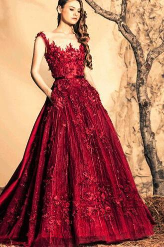 Burgundy Prom Dress, Beaded Prom Dress, Long Prom Dress, Lace Flower Prom Dress, A Line Prom Dress, Luxury Prom Dress, Prom Dresses 2016, Illusion Neckline Prom Dress