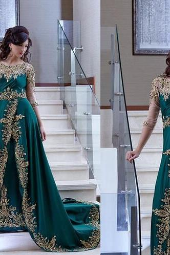 Middle East Evening Dress, Lace Applique Evening Dress, Half Sleeve Evening Dress, Cheap Evening Dress, Dubai Evening Gowns, Hunter Green Formal Dress, Elegant Formal Dress
