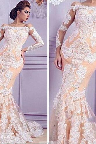 Champagne Evening Dress, Long Sleeve Evening Dress, Lace Evening Dress, Mermaid Evening Dress, Long Evening Dress, Cheap Formal Dresses, Elegant Evening Dress, Evening Dress 2016, Formal Dress For Women