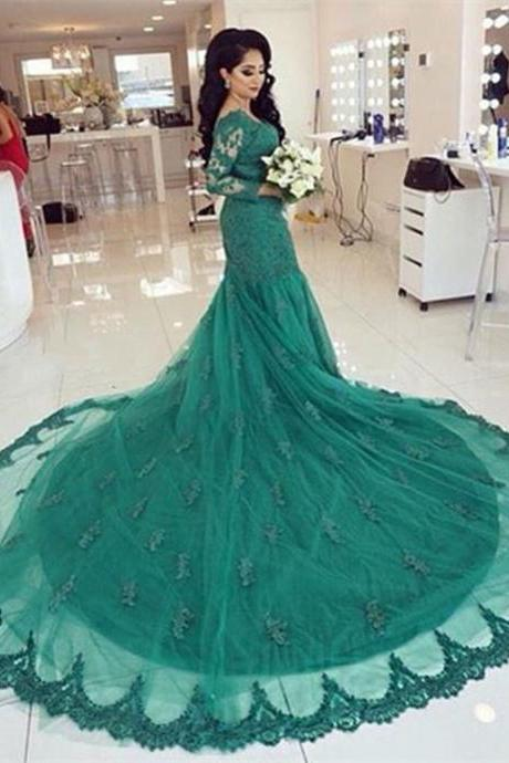 Hunter Green Evening Dress, Lace Applique Evening Dress, Mermaid Evening Dress, Cathedral Train Evening Dress, Long Sleeve Evening Dress, Red Carpet Dress, Elegant Evening Dress, Formal Party Dresses 2016, Affordable Formal Dress