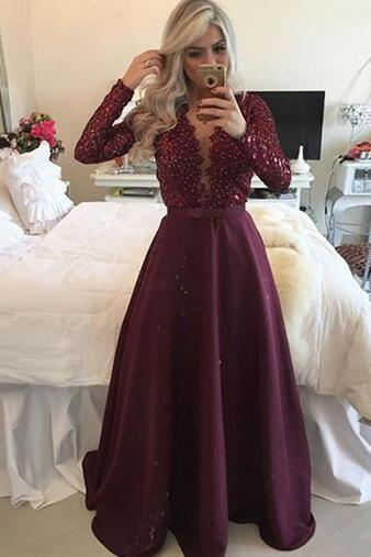 Long Sleeve Prom Dress, A Line Prom Dress, Lace Prom Dress, Deep V Neck Prom Dress, Elegant Prom Dress, 2016 Prom Dresses, Cheap Formal Dresses