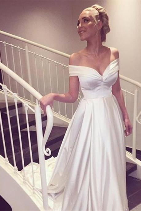Cap Sleeve Wedding Dress, Elegant Wedding Dress, White Wedding Dress, Satin Wedding Dress, A Line Wedding Dress, V Neck Wedding Dress, Cheap Bridal Gowns, 2016 Wedding Dresses