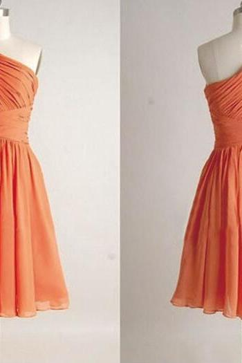 Orange Bridesmaid Dress, One Shoulder Bridesmaid Dress, Chiffon Bridesmaid Dress, Short Bridesmaid Dress, Cheap Bridesmaid Dress, 2016 Bridesmaid Dress, Wedding Party Dresses, Junior Bridesmaid Dress, Wedding Guest Dresses