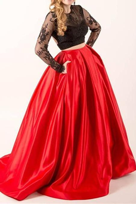 Two Piece Prom Dresses, Black And Red Prom Dresses, Lace Prom Dress, Sexy Prom Dresses, Long Sleeve Prom Dress, Elegant Prom Dress, Prom Dresses 2016