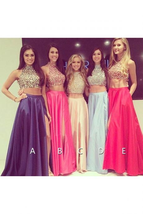 Two Piece Prom Dresses, Rhinestones Prom Dress, Satin Prom Dress, A Line Prom Dress, Cheap Prom Dress, Long Prom Dress, High Neck Prom Dresses, 2016 Prom Dresses