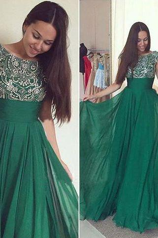 Rhinestones Prom Dress, Chiffon Prom Dress, Long Prom Dress, Hunter Green Prom Dress, Elegant Prom Dress, Cheap Prom Dress, 2016 Prom Dresses, A Line Prom Dress