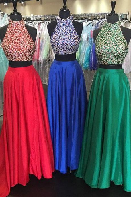 Satin Prom Dress, A Line Prom Dress, High Neck Prom Dress, Two Pieces Prom Dress, Long Prom Dress, Rhinestones Prom Dress, Evening Dress Prom, Prom Dresses 2016