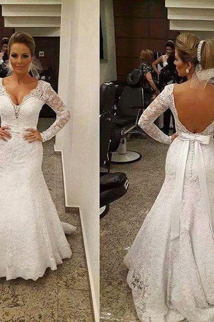 Long Sleeve Wedding Dress, Lace Wedding Dress, Mermaid Wedding Dress, Backless Wedding Dress, Ivory Wedding Dress, Cheap Bridal Dress, Elegant Wedding Dress