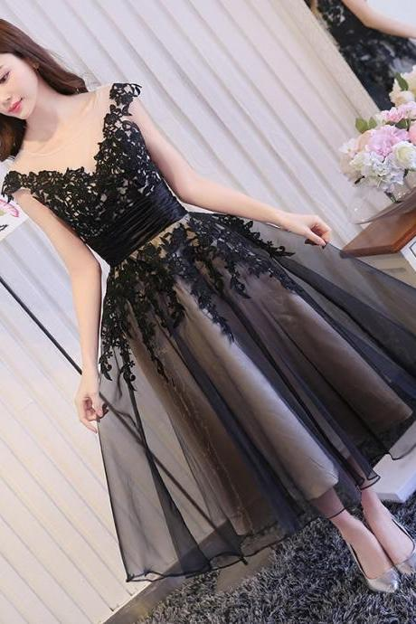 Ankle Length Prom Dress, Black Lace Prom Dress, Cap Sleeve Prom Dress, Tulle Prom Dress, V Neck Prom Dress, Prom Dresses 2016, Cheap Formal Dress