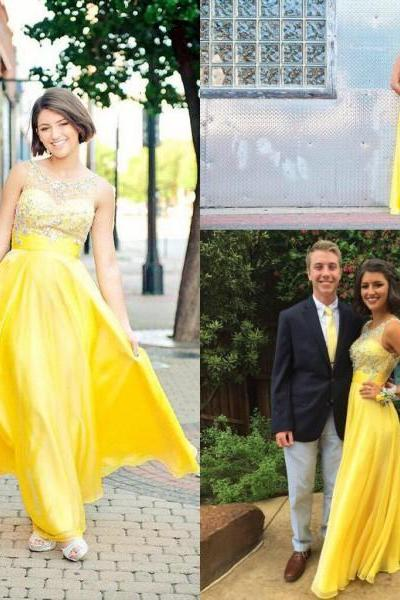 A Line Prom Dress, Yellow Prom Dress, Cheap Prom Dress, Long Prom Dress, Beading Prom Dress, Off Shoulder Prom Dress, Prom Dresses 2016
