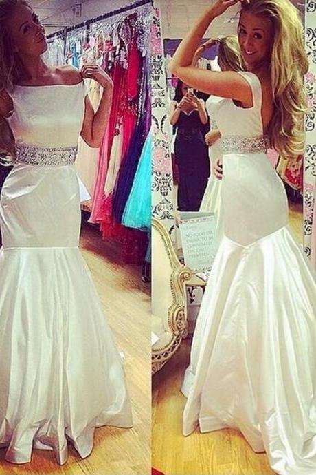 Mermaid Wedding Dress, Satin Wedding Dress, Elegant Wedding Dress, Beaded Belt Wedding Dress, 2016 New Arrival Wedding Dress, Backless Wedding Dress, Bridal Dresses 2016