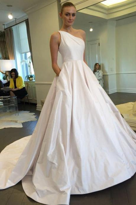 One Shoulder Wedding Dress, Simple Wedding Dress, Satin Wedding Dress, Ivory Wedding Dress, Cheap Bridal Dress, A Line Bridal Gown, Wedding Dresses 2016