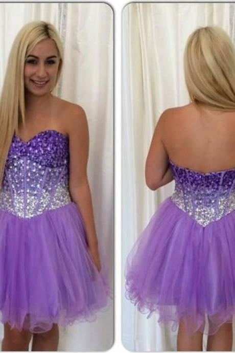 Purple Homecoming Dress, Beaded Homecoming Dress, Tulle Homecoming Dress, Sexy Homecoming Dress, Short Homecoming Dress, Cocktail Party Dress
